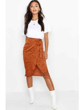 Petite Printed Satin Wrap Skirt by Boohoo