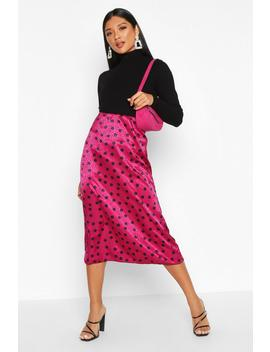 Jacquard Satin Polka Dot Bias Midi Skirt by Boohoo