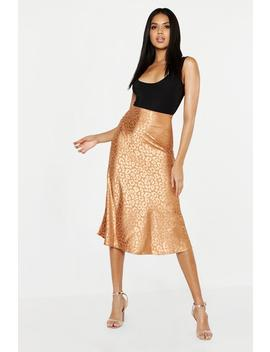Leopard Print Satin Bias Cut Slip Midi Skirt by Boohoo
