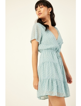 Kora Chiffon Mini Dress Green Print by Luck & Trouble