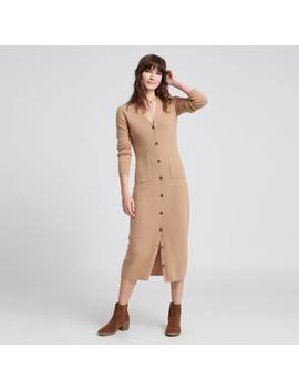Cashmere Ribbed Cardigan Dress Camel by Naadam