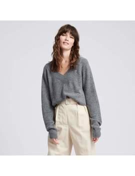 Wool Cashmere V Neck Medium Gray by Naadam