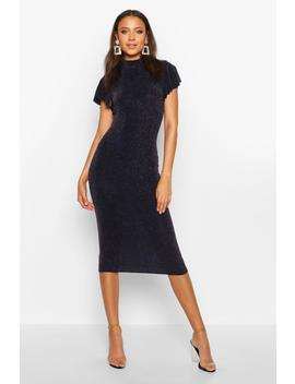 Tall Shimmer High Neck Angel Sleeve Midi Dress by Boohoo