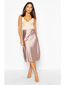 Satin Bias Cut Slip Midi Skirt by Boohoo