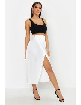 Satin Wrap Midaxi Skirt by Boohoo