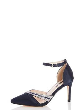 Wide Fit Navy Satin Asymmetrical Asymmetrical Heels by Quiz