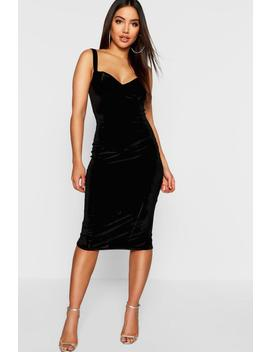 Velvet Bustier Midi Dress by Boohoo