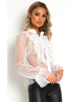 Hannah Mesh Ruffle Top In White by Ikrush
