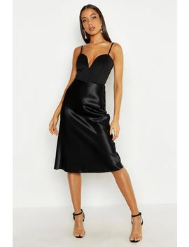 Satin Bias Midi Skirt by Boohoo