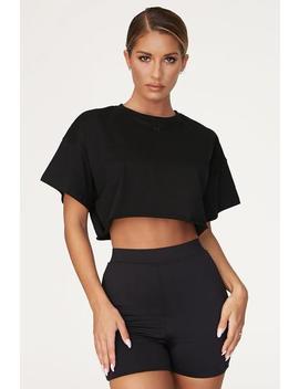 Alix Cropped Oversized T Shirt   Black by Meshki