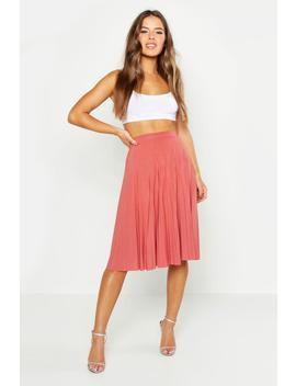 Petite Slinky Pleated Midi Skirt by Boohoo
