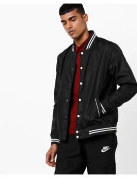 Textured Varsity Bomber Jacket by Ajio