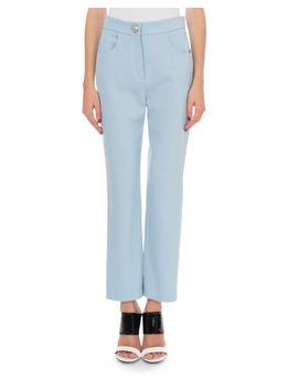 Straight Leg Grain De Poudre Pants In Sky Blue by Balmain