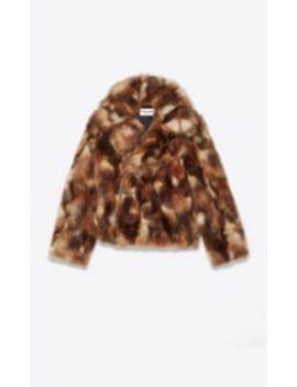 Pea Coat In Camouflage Fake Fur by Saint Laurent