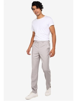 Grey Paly Pinstripe Trousers by Topman