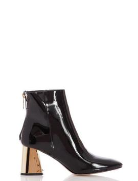 Black Patent Gold Heel Ankle Boots by Quiz