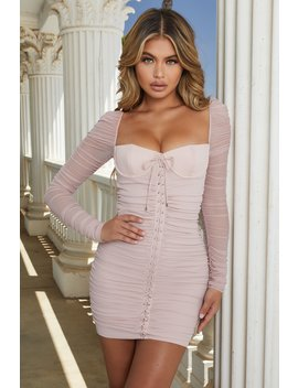 Fantasy Long Sleeve Ruched Mesh Mini Dress In Blush by Oh Polly