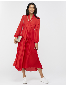 Kate Pleat Tier Plain Midi Dress by Monsoon