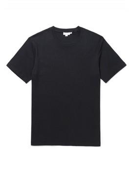 Men's Cavendish Cotton Interlock T Shirt In Black by Sunspel