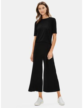 Tencel Jersey Pleated Wide Leg Ankle Pant by Eileen Fisher