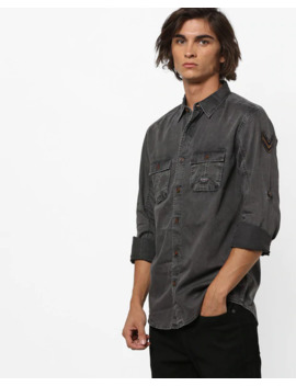 Lightly Washed Shirt With Flap Pockets by Spykar