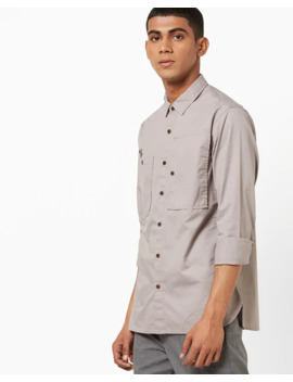 Slim Fit Shirt With Buttoned Patch Pocket by Ajio