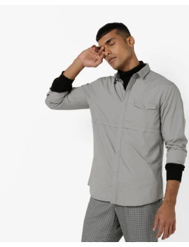Slim Fit Panelled Shirt With Flap Pocket by Ajio