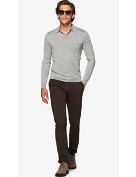 Grey Long Sleeve Polo by Suitsupply