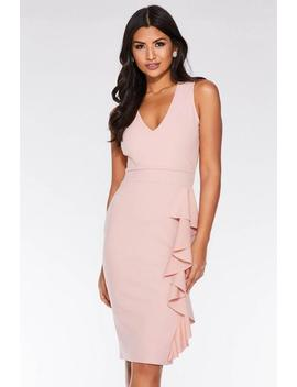 Dusky Pink V Neck Frill Midi Dress by Quiz