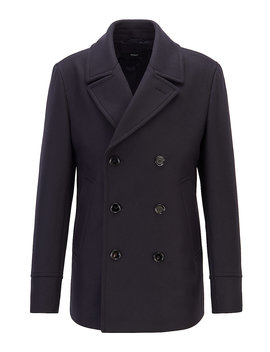 Slim Fit Pea Coat In A Virgin Wool Blend by Boss