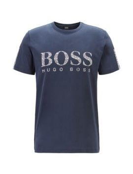 Regular Fit T Shirt In Cotton With Mouline Logo by Boss