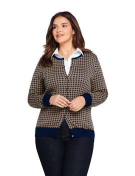 Women's Plus Size Supima Cotton Cardigan Sweater   Print by Lands' End