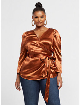 Bryony Satin Wrap Blouse by Fashion To Figure
