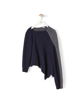 Asymmetric Knit Sweater 				 				 				 				 				 				 				Navy Blue/Grey by Loewe