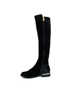 Laney Faux Suede Knee High Buckle Boots In Black S by Ikrush