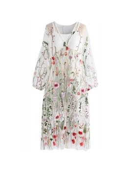 Lost In Flowering Fields V Neck Embroidered Mesh Dress In Cream Lost In Flowering Fields Mesh Maxi Skirt In Black Lost In Flowering Fields Embroidered Mesh Maxi Dress In Black by Chicwish