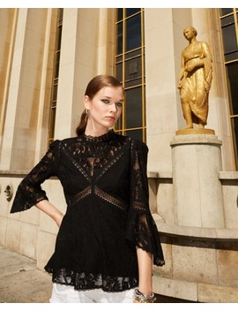 Black Lace Top With Crew Neck by The Kooples