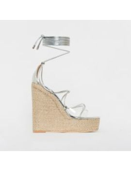 Misty Silver Clear Lace Up Espadrille Wedges by Simmigirl