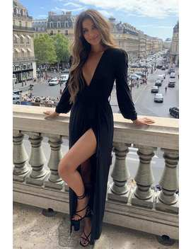 Stephsa Black Slinky Plunge Maxi Dress by In The Style