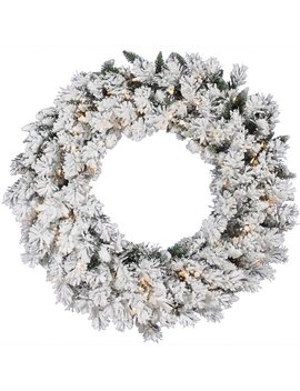Vickerman Flocked Snow Ridge Pre Lit Wreath by Hayneedle