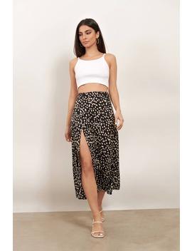 Better Now Black Multi Spot Print Slit Midi Skirt by Tobi
