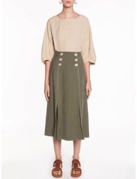 Texture Button Midi Skirt by Veronika Maine