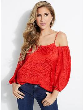Sosie Leopard Off The Shoulder Top by Guess