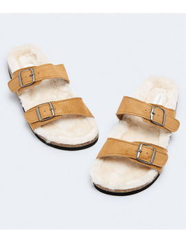 Faux Fur Double Strap Slide Sandal by Aeropostale