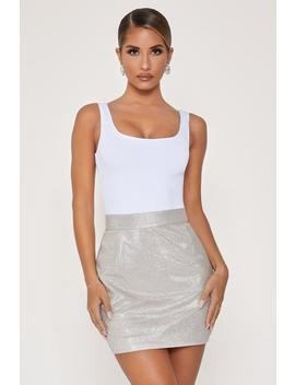 Vive High Waisted Mini Skirt   Silver by Meshki