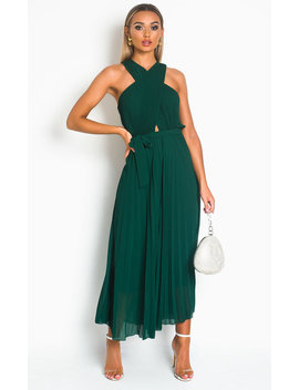 Ryanna Pleated Crossover Maxi Dress In Dark Green by Ikrush