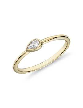 Mini Pear Shape Diamond Fashion Ring In 14k Yellow Gold (1/10 Ct. Tw.) by Blue Nile