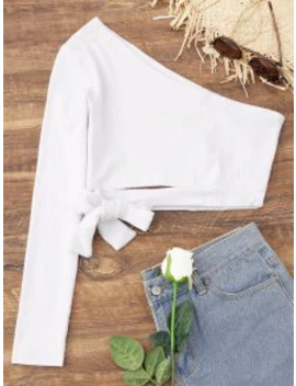 Popular Sale Tied One Shoulder Crop Top   White S by Zaful