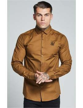 L/S Cotton Stretch Shirt – Dark Tan by The Sik Silk