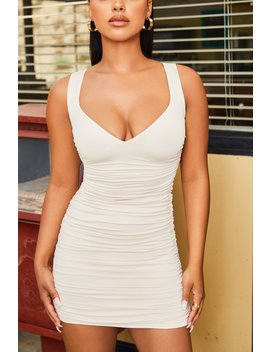 Subtle Hint Ruched Bodycon Mini Dress In Oyster White by Oh Polly